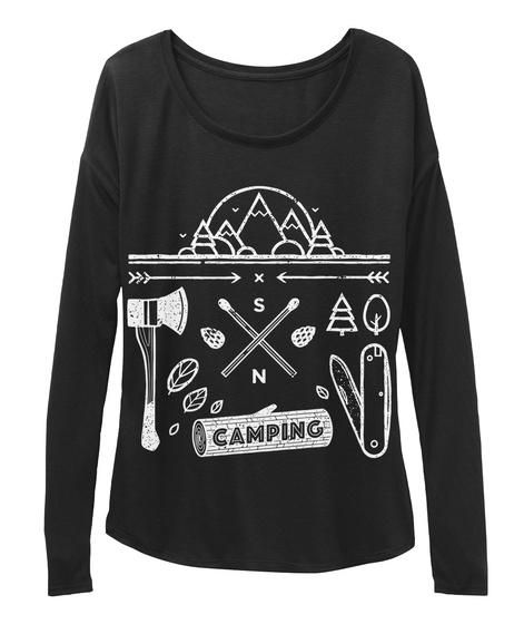 S N Camping Black T-Shirt Front