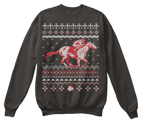 Horse Racing Ugly Christmas Sweater Jet Black T-Shirt Front
