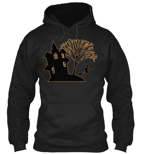 Hoodie Haunted House Witch Halloween Black T-Shirt Front