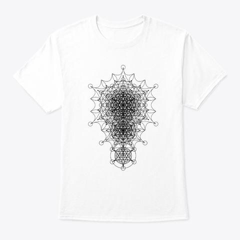 Sacred Geometry Dimensional Star Black White T-Shirt Front