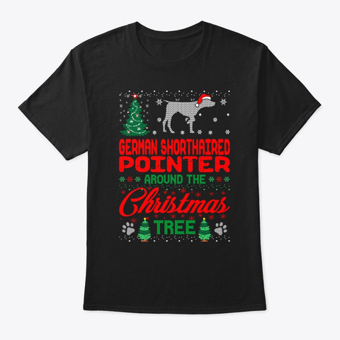 Shorthaired Pointer Christmas Tree Black T-Shirt Front