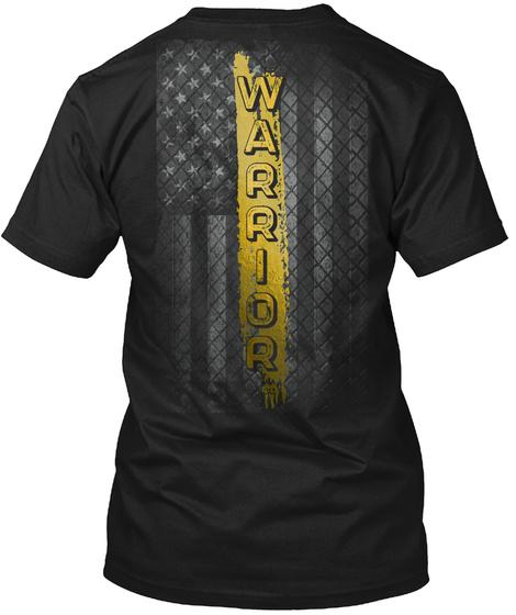 Childhood Cancer Awareness: Warrior Black T-Shirt Back