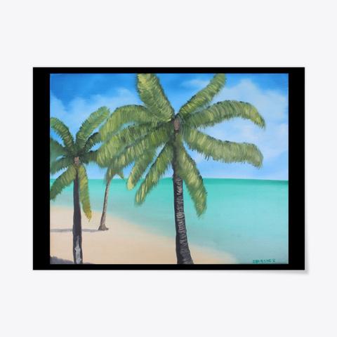 Beach Palms Black T-Shirt Front