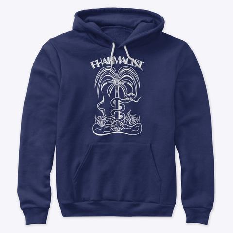 Pharmacist Palm Tree Symbol White Navy T-Shirt Front