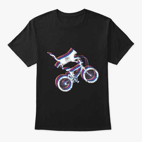 Cat Bike Vintage Motor Rider Biker Black T-Shirt Front