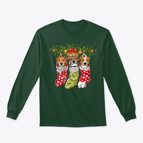Pitbulls Socks Christmas Gifts Dog Lover Forest Green T-Shirt Front