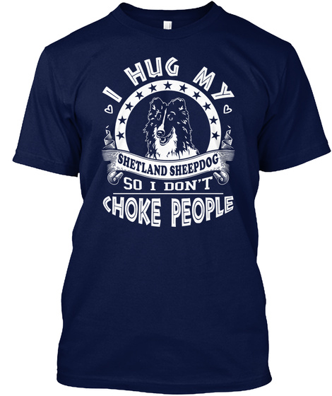 Shetland Sheepdog Navy T-Shirt Front