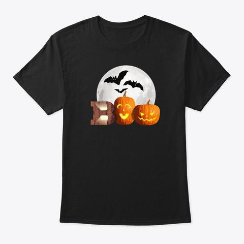 Halloween Boo Pumpkin Shirt Black T-Shirt Front
