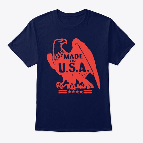 Made In The Usa Navy T-Shirt Front