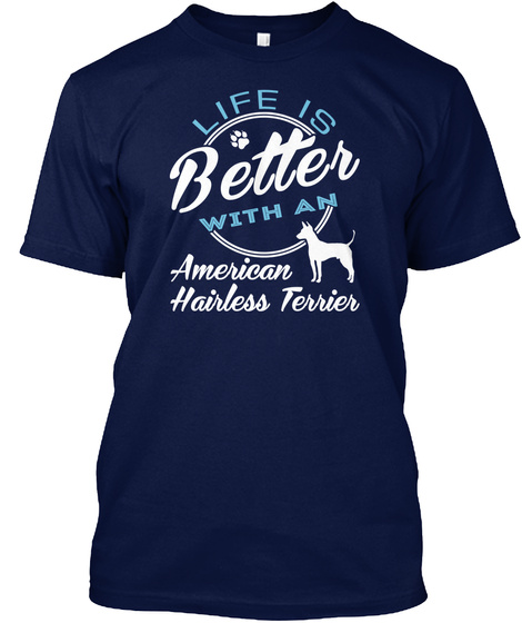 American Hairless Terrier Navy T-Shirt Front