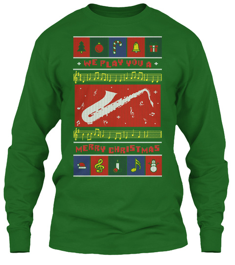 Saxophone Ugly Christmas Sweater Tee Irish Green T-Shirt Front