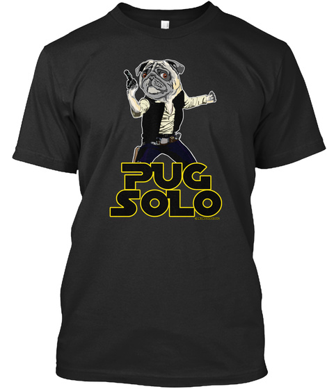 Pug Solo Black T-Shirt Front
