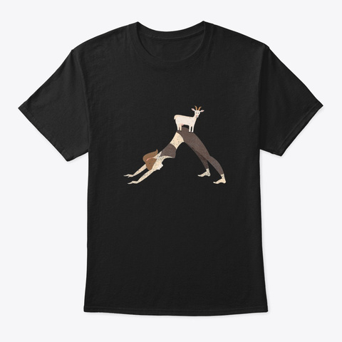Cute Goat Yoga T Shirt   Downward Facin  Black T-Shirt Front