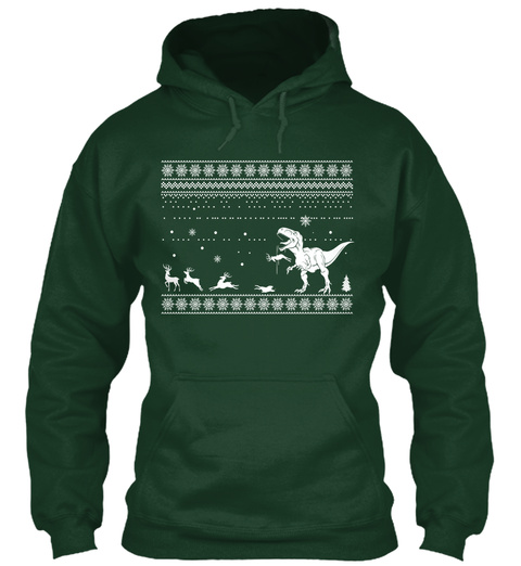 Dinosaurs, Funny Christmas Gift Forest Green T-Shirt Front