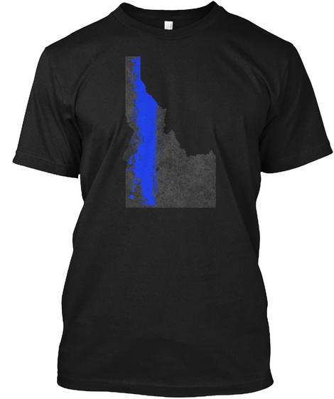 Idaho Blue Line Onyx Black T-Shirt Front