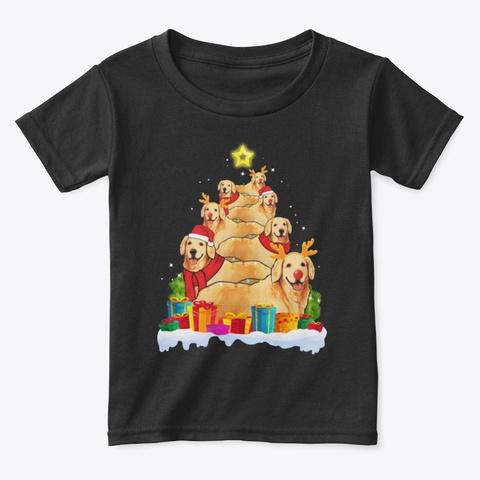 Golden Retriver Chirstmas Tree Funny Dog Black T-Shirt Front