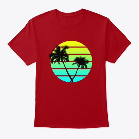 Classic Palm Trees Beach Deep Red T-Shirt Front