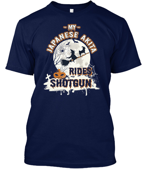 Japanese Akita Navy T-Shirt Front