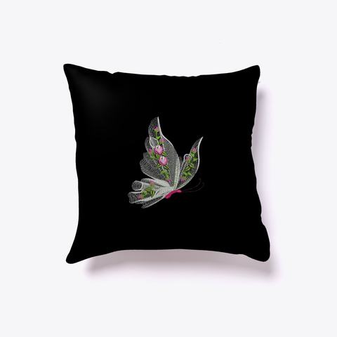 Throw Pillow Design Floating Butterfly Black T-Shirt Front