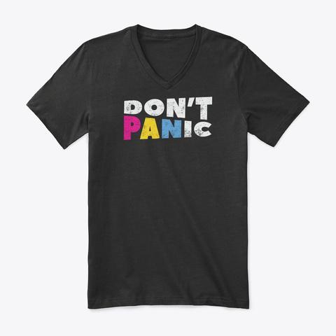Pan Pride Lgbtq  Dont Panic Pansexual Black T-Shirt Front