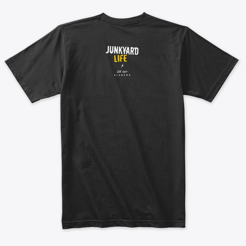 Junkyard Life Logo Tshirt #1 Vintage Black T-Shirt Back