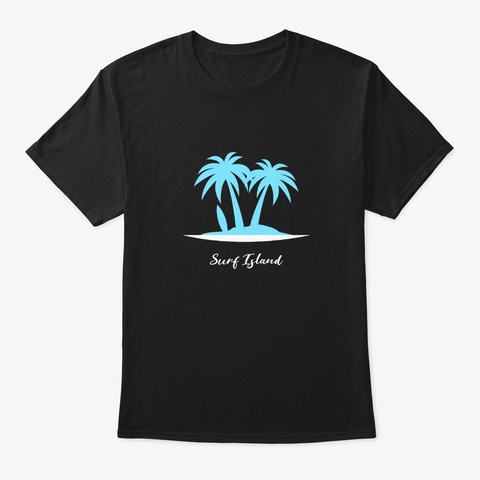 Blue Surf Island Board And Palm Trees Black T-Shirt Front