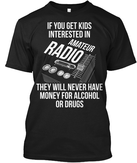 Amateur Radio Kids Black T-Shirt Front