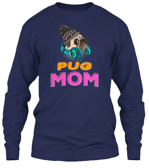 Pug Puppy In A Knitted Hipster Mom Navy T-Shirt Front