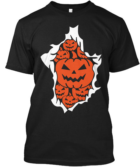 Halloween Pumpkins Burst Black T-Shirt Front