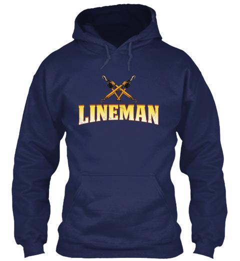 Lineman Run On Caffeine N Sarcasm Navy T-Shirt Front