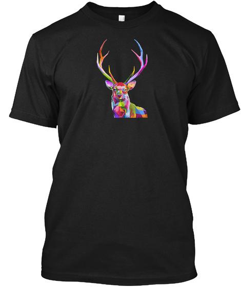 Animal Stag Deer Colorful Art Black T-Shirt Front