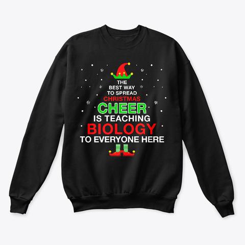 Christmas Elf Cheer For  Biology Teacher Black T-Shirt Front