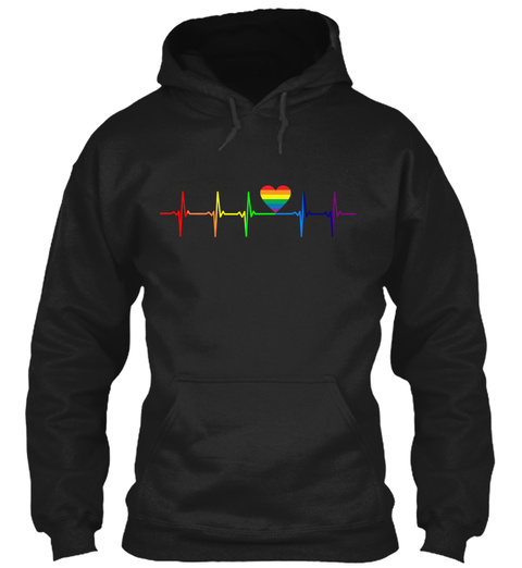 Lgbt Heartbeat Gay Pride Rainbow Flag Black T-Shirt Front