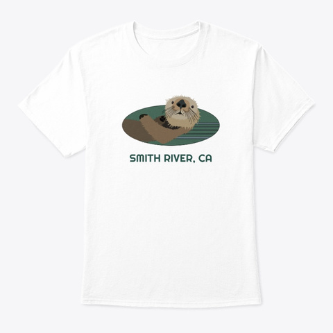 Smith River Ca Otter Pnw Tribal White T-Shirt Front