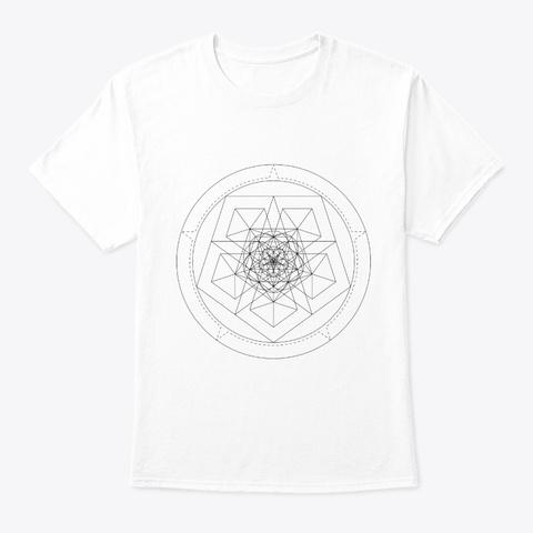Sacred Geometry Star Pentagon Black White T-Shirt Front