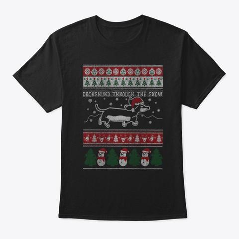 Ungly Christmas Dachshund Dogs Shirt Black T-Shirt Front