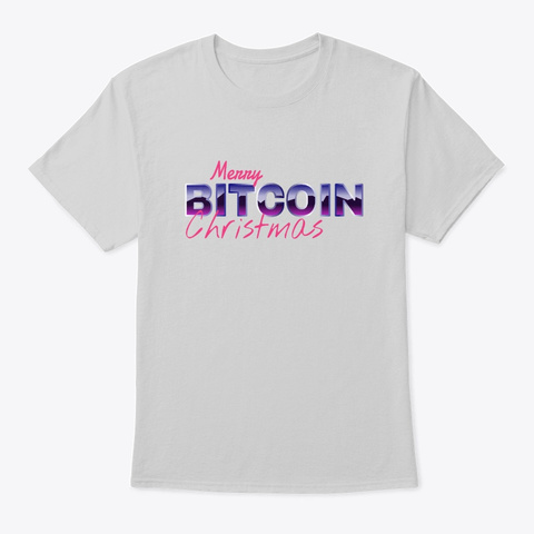 Merry Bitcoin Christmas Light Steel T-Shirt Front