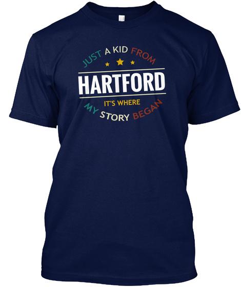 Hartford It's Where My Story Began Navy T-Shirt Front