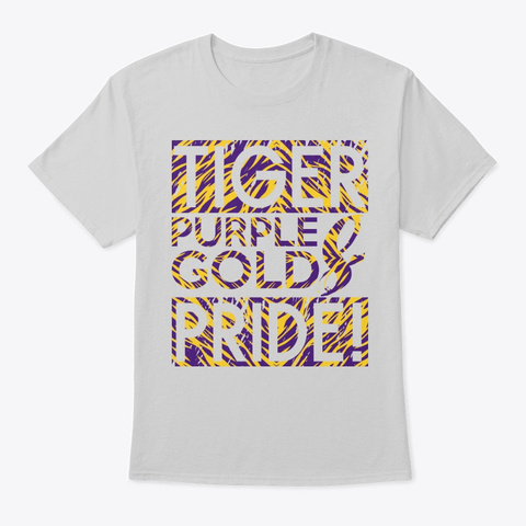 Tiger Purple /Gold Pride Tee Light Steel T-Shirt Front