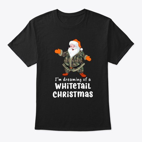 Dreaming Whitetail Christmas Deer Black T-Shirt Front