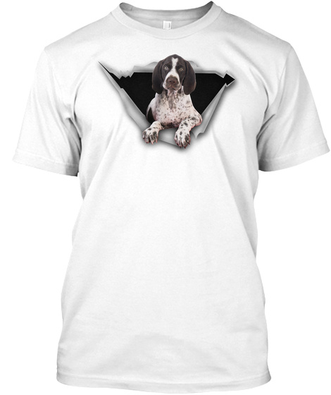 Torn   German Shorthaired Pointer White T-Shirt Front