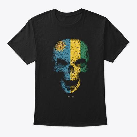 Skull Rwanda Flag Skeleton Black T-Shirt Front