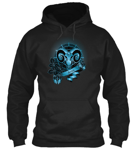 Aries Ram Zodiac In Blue Black T-Shirt Front