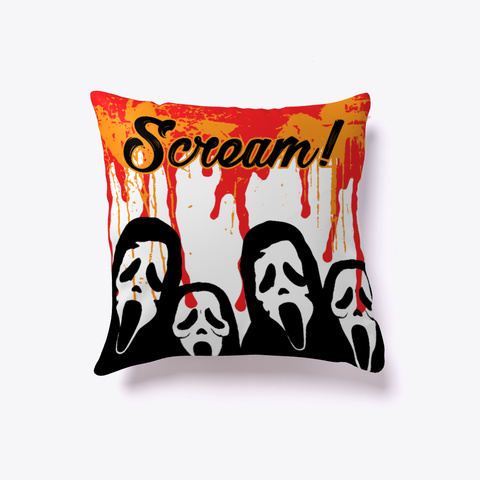 Scream Halloween Pillow White Kaos Front