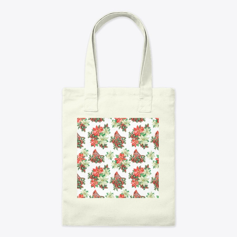 Red And White Christmas Poinsettias Natural T-Shirt Front