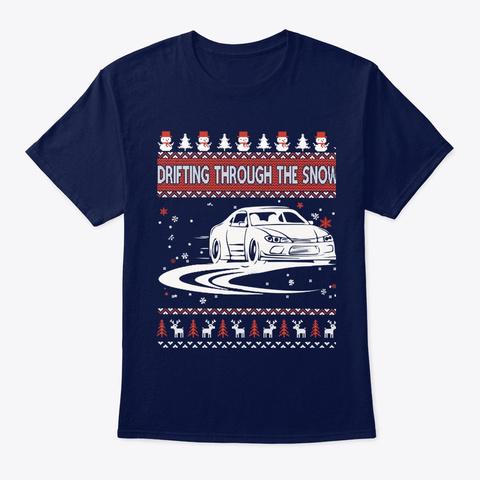 Drifting Through The Snow T Shirt Navy T-Shirt Front