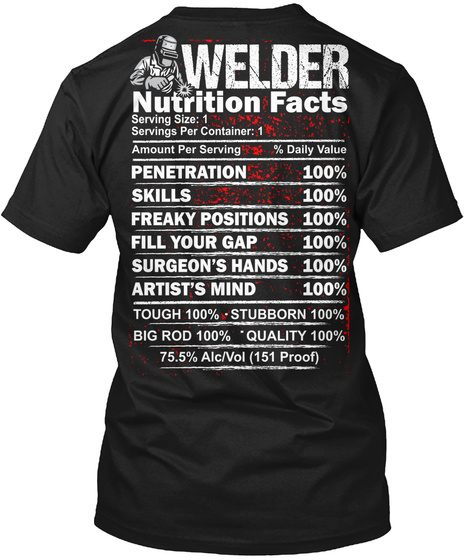 Welder Nutrition Facts Serving Size Serving Per Container Amount Per Serving Daily Value Penetration Skills Freaky... Black T-Shirt Back
