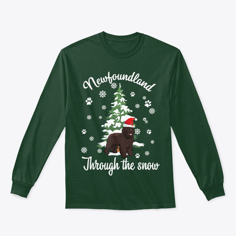 Newfoundland Through The Snow Christmas Forest Green T-Shirt Front