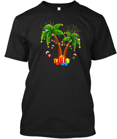 Decorated Christmas Palm Tree Tropical X Black T-Shirt Front