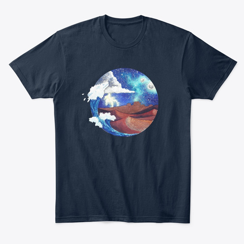 Desert And Sea Watercolor New Navy T-Shirt Front